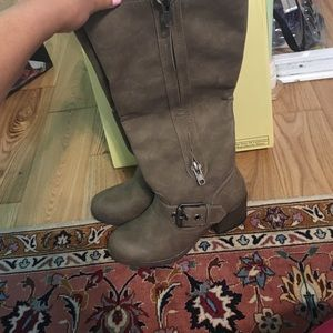 Faux suede taupe long boots